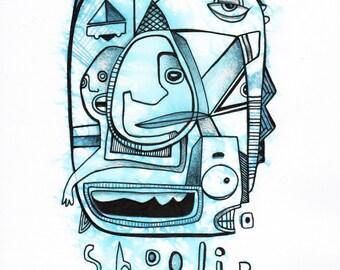 Shoolip- Original Mixed Media Illustration on Bristol - 8x10