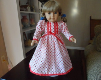 "Doll Nightgown for American Girl Doll Valentine Hearts and Lacedress 18"" doll clothes"