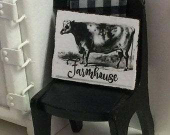 Farmhouse Cow Sign Dollhouse Miniature