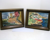 2 Vintage Porcelain Wall Plaques Tiles Signed Irina ? Scenic Costal Beach Asian Lorin Irina (?)