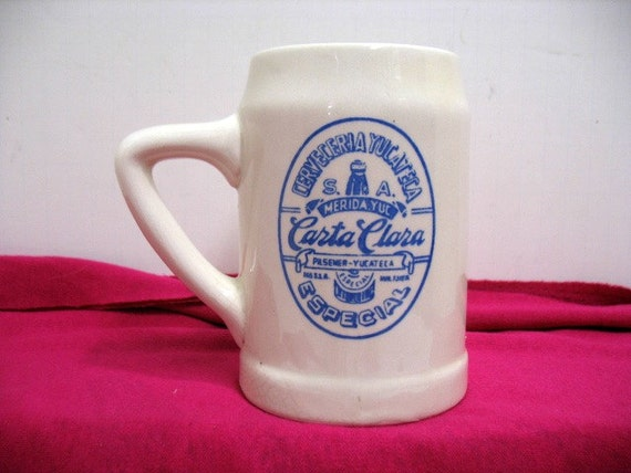 Vintage Carta Clara Mexico Beer Mug, Keramos Heavy Pottery, Mexican Beer Advertisement
