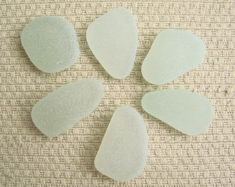 6 Sea Glass Gems (SG1923) Rich and Pastel Green-tint Seafoam Blue Green Mediterranean Sea glass, Beach Glass