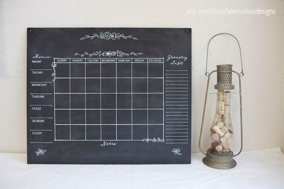 "Custom unframed 20"" x 24"" Chalkboard. Custom Calendar. Custom Chalk Menu. Welcome sign. Notes. To-Do List. Custom Chore Chart."