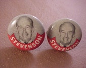 Political Cuff Links Adlai Stevenson Vintage Campaign Buttons - Free Shipping to USA