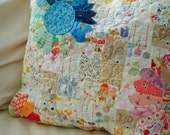"Made to Order, Patchwork and floral Pillow Cover, Quilted Vintage inspired pillow 20"" x 20"""