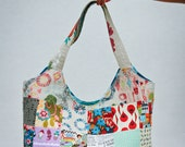 Large Quilted Patchwork Basket Tote Bag, Fairytales, Flowers, Abstract design