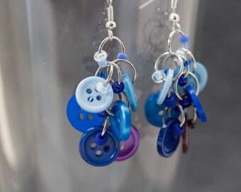 Button Dangle Earrings - Blue Dark Purple Ombre by randomcreative on Etsy
