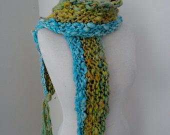handspun handknit soft merino scarf turquoise mustard gold chunky art yarn