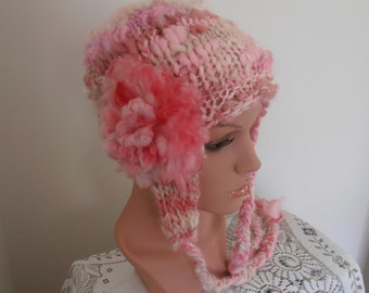 Pink Beanie Ear flap hat  Hand Spun Hand Knit  Art Yarn pretty dusty pink , shades of pink and off white cream