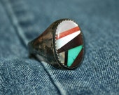 Vintage Native American Men's Ring Zuni Inlay Turquoise Wood MOP Abalone Onyx Spiny Oyster