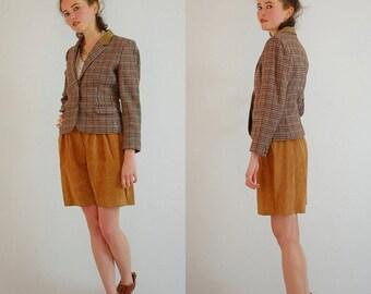SALE SALE Crop Plaid Blazer Vintage 80s Preppy Houndstooth Plaid Wool SASSON Crop Blazer Jacket (s m)