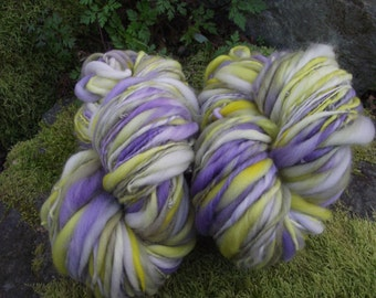 On Sale through Aug 6 20% off Handspun Art yarn, handpainted wool yarn Slub yarn extreme thick and thin, with free pattern-Spring Crocus