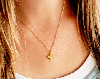 State Necklace, Gold Silver All 50 States Dainty State Charm Custom Bridal Personalized Bridesmaid Gift Wedding State Mini Necklace