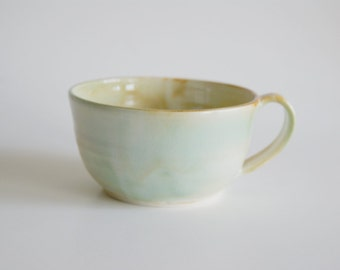 Handmade Large Ceramic Mug - Ceramic Mug in Turquoise, Rust and Cream - Handmade Porcelain Cup - Soup Cup