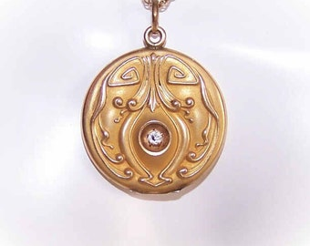 Art Nouveau Gold Filled and Rhinestone Locket Pendant by W&H Co