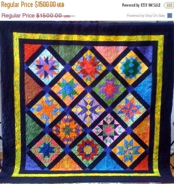 Festival Sale Jazzy Stars, 84 x 84 inch art quilt, Perfect for a Jazz Club