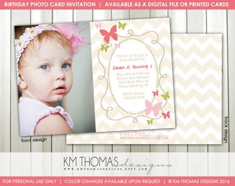 Butterfly Photo Birthday Invitation : Printable Butterfly Invitation - Girl Butterfly Invitation - Girl Birthday Photo Invitation - BD126