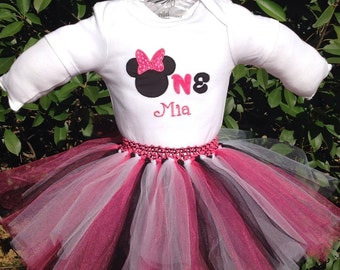 Disney Minnie Mouse Tutu Dress First Birthday Party Onesie Outfit with Personalized Embroidery