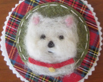Westie Felted Ornament