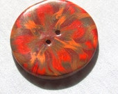 Extra Large Millefilori Red, Orange, Yellow and Brown Button  No. 368