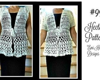 Long White Crochet Vest, Crochet PATTERN- crochet pattern for women  Chest 30-60 inch, Top Down, #997, Plus size, adults, clothing