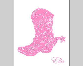 PERSONALIZED COWBOY BOOT Nursery Art Country Western Wild West - 8x10 Print - Kids Wall Art - Choose Your Colors and Name