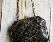 Vintage Rouge Compact Case with Wristlet Chain- Deco Vanity Make-up Hinged Compact- Black Enamel