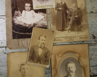 Victorian CABINET CARDS (6) Old Photos- Baby Photo- Child- Boy- Man- Sepia Toned Photos- Bearded Gents