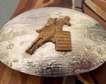 Vintage Comstock Silversmiths German Silver Belt Buckle Barrel Racer Horse Racing Cowboy Cowgirl