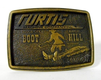 Dodge City KS Curtis Machine Co Shop Boot Hill Kansas Distressed Belt Buckle 1978