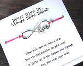 Never Give Up Always Have Hope - Infinite Hope Charm - Wish Bracelet - Shown In HOT PINK - Over 100 Colors Available