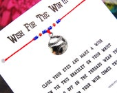 Wish For The Win!!! - Wish Bracelet With Large Silver Baseball Charm - Custom Made In Your Team Colors!!!