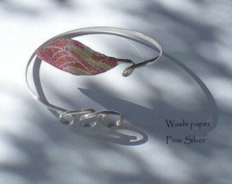 Japanese handmade paper leaf accents this Fine Silver wrap bracelet
