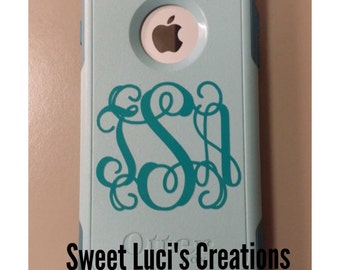 Cell Phone Monogram Decals Qty of 2 / Iphone Otter Box