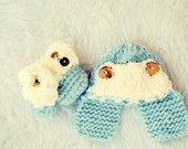 Baby Hat and Booties Set, Blue Baby Hat, Blue Baby Booties,Baby Boy Hat, Cute Baby Boy Hat