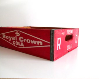Royal Crown Cola Crate Wood RC Soda Red Crate Storage Vintage Wooden Box Beverage Display Case