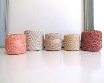 Vintage Tatting Crochet Thread 5 Spools Variegated Pink, Beige Ecru, Mauve Colors