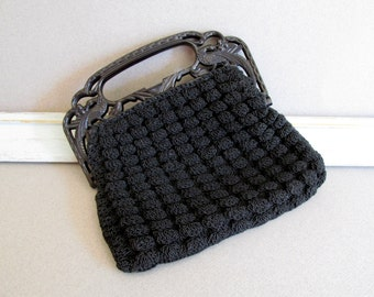 Vintage Black Crocheted Purse Art Deco 1940's WW II Celluloid Handle with Carved Pheasants