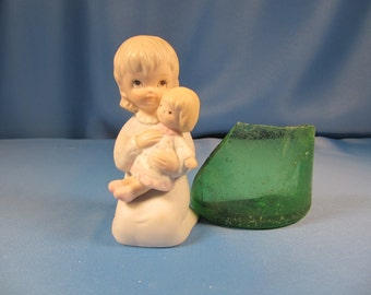 CHRISTOPHER COLLECTION GIRL with Dolly, hand painted Lefton China, Lefton Christopher Collection Child Figurine, Child Stautue