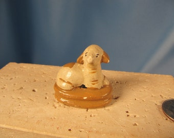 TINY LAMB from CHILE, Miniiscule Ceramic Antique Lamb made in Chile, hand painted miniature statue of lamb,stamped made in Chile,Lamb Figure