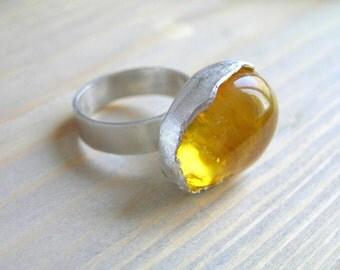 Amber Ring Baltic Amber Sterling Silver Ring Natural Amber Ring Amber Statement Ring Healing Stone Ring Boho Ring