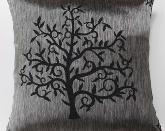 Black tree  in silver  pillow.  decorative cushion  cover. festive  throw pillow. 18 inch. custom made