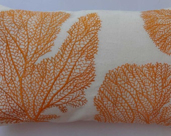 Orange coral fans pillow. fan embroidered on off white pillow. coastal , sea, nautical pillow. Beach pillow cover.  can be customized.12x 20