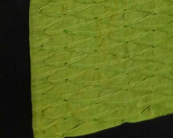 Apple  Green art silk table runner. pleated table runner with bead work . decoretive  runner  14x60 inch 1in stock  ready to  ship.