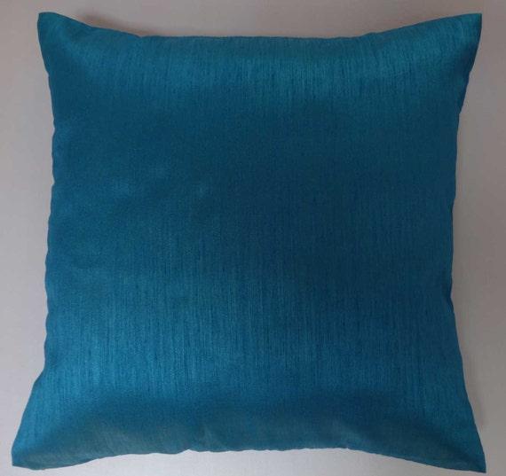 teal blue art silk pillow. throw pillow. silk decorative