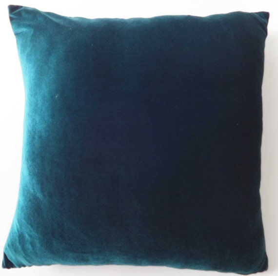 Teal Blue Throw Pillow Covers : Teal blue Velvet pillow cover. decorative velvet throw