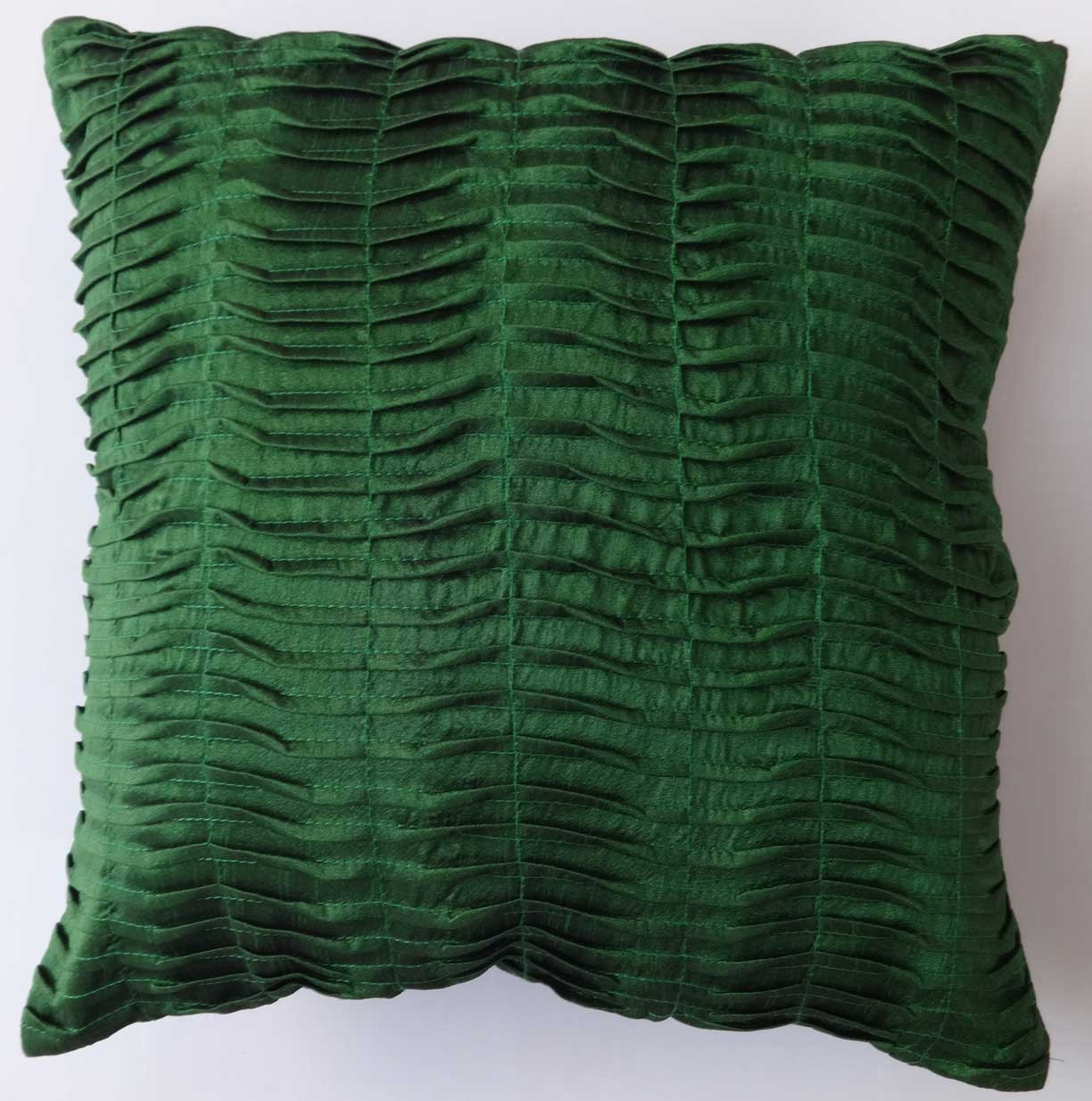 Kelly Green Throw Pillow : Kelly green pleated throw pillow. 16 inch. art silk