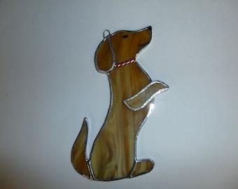 Stained glass Beggin' weinie dog