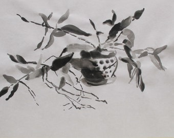 Orchid....ink sketch, yuopo paper, black and white, drawing, calligraphic