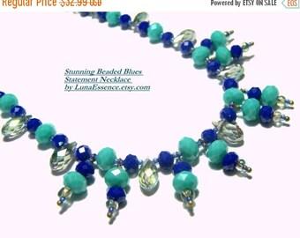 WinterSale Beaded Blues Statement Necklace  Top Selling Jewelry Popular Jewelry Beaded Jewelry Blue Jewelry Beaded Fringe Crystal Necklace